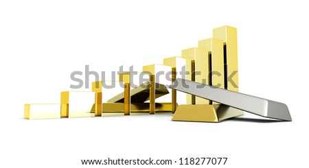 Rising value of precious metals. 3D rendered Illustration. Isolated on white.