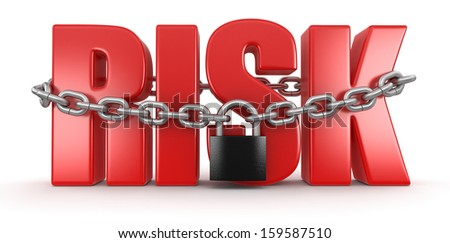 risk and lock (clipping path included) - stock photo