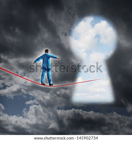 Risk and opportunity business concept as a businessman on a storm background walking on a red tight rope leading into a key hole shaped as a bright sky for financial freedom and career success. - stock photo