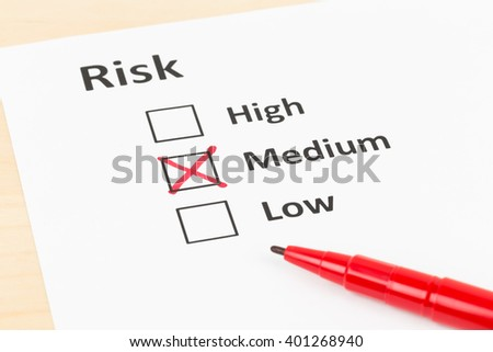 Risk assessment check box and pen