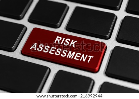 risk assessment red button on keyboard, business concept - stock photo