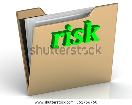 risk - bright green letters on a folder on a white background - stock photo