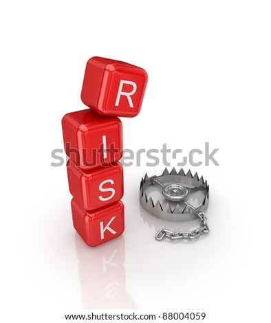 Risk concept.Isolated on white background.3d rendered. - stock photo