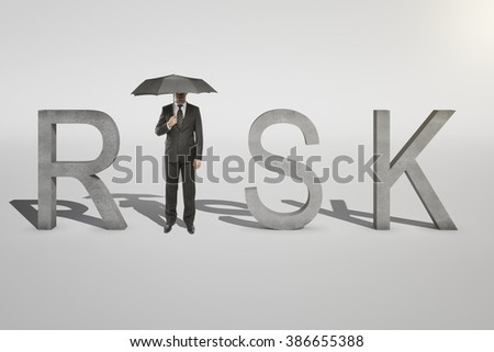 Risk concept of businessman with umbrella replacing letter 'I' in word 'RISK' on white background. 3D Render - stock photo