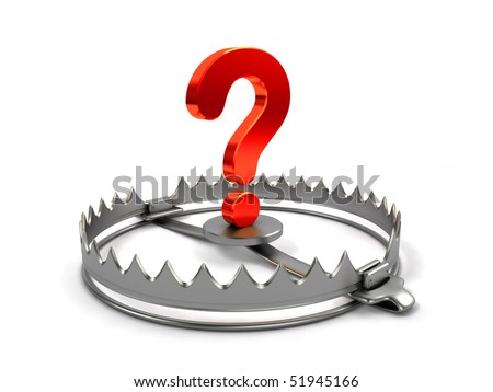 Risk concept. Sign question on bear trap. - stock photo