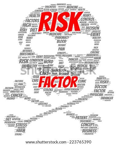 Risk factor word cloud shape concept - stock photo