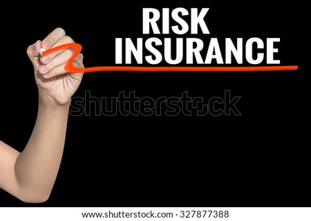 Risk Insurance word write on black background by woman hand holding highlighter pen - stock photo