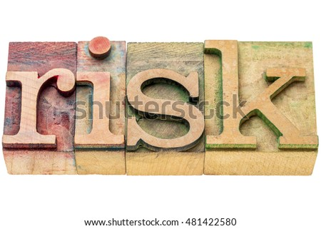 risk - isolated word abstract in letterpress wood type
