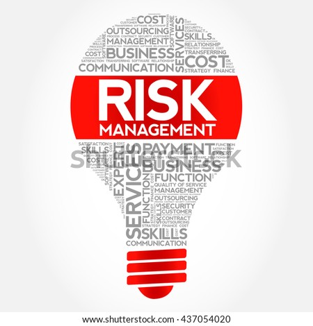 Risk Management bulb word cloud, business concept - stock photo