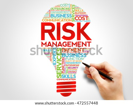 Risk Management bulb word cloud collage, business concept background