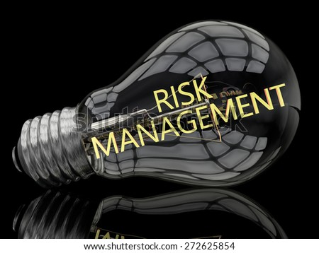 Risk Management - lightbulb on black background with text in it. 3d render illustration. - stock photo
