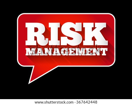 Risk Management message bubble, flat style business background - stock photo