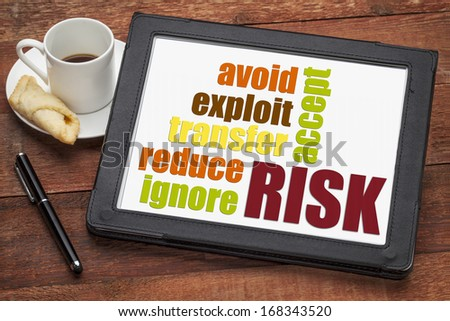 risk management strategies - ignore, accept, avoid, reduce, transfer and exploit - word cloud on a digital tablet - stock photo