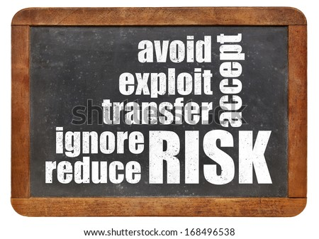 risk management strategies - ignore, accept, avoid, reduce, transfer and exploit - word cloud on a vintage slate blackboard - stock photo