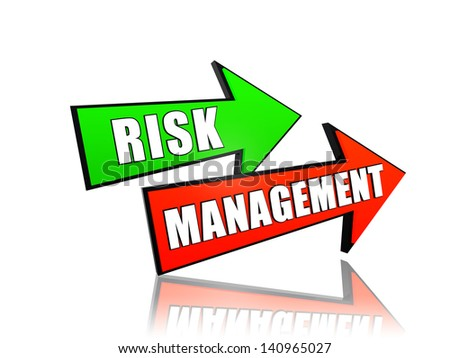 risk management - text in 3d arrows, business concept words