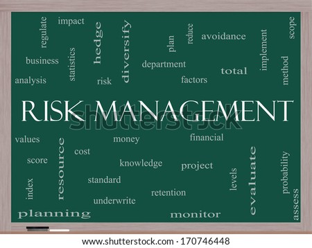Risk Management Word Cloud Concept on a Blackboard with great terms such as total, factors, levels, financial and more.