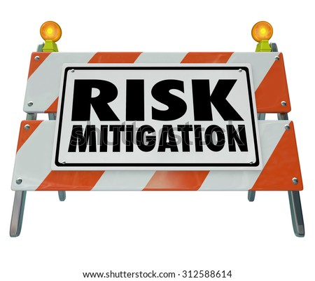Risk Mitigation words on a road construction barrier or sign warning of danger of injury and protecting or prevention from lawsuits - stock photo