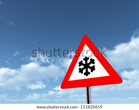 Risk of Snow or Ice Computer generated 3D illustration