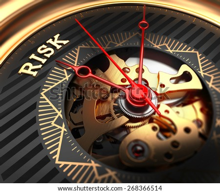 Risk on Black-Golden Watch Face with Watch Mechanism. Full Frame Closeup. - stock photo