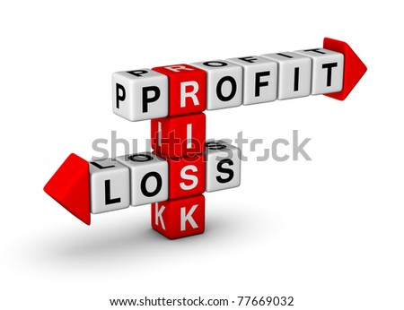 Risk, Profit and Loss crossword - stock photo