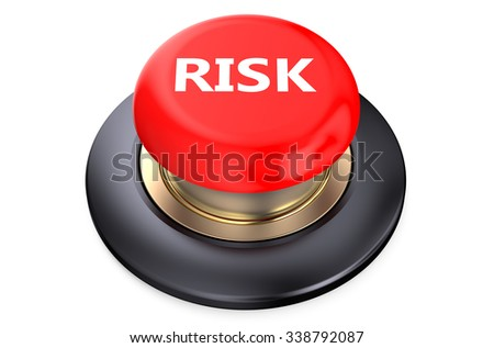Risk red push button isolated on white background