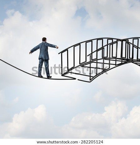 Risk reduction concept as a businessman on a tightrope walking on a wire that becomes shaped as a safe three dimensional bridge as a symbol of increased security and controlling uncertainty. - stock photo