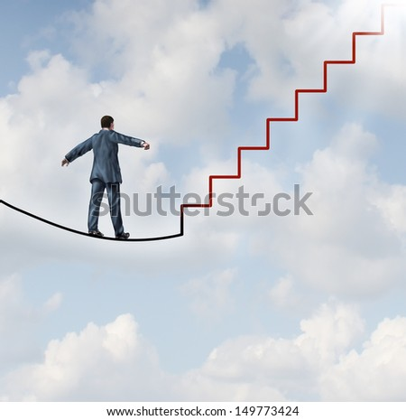 Risk solutions and adapting to change as a business idea with a businessman walking on a dangerous high wire tightrope that transforms into a staircase leading to a clear path to future opportunity. - stock photo