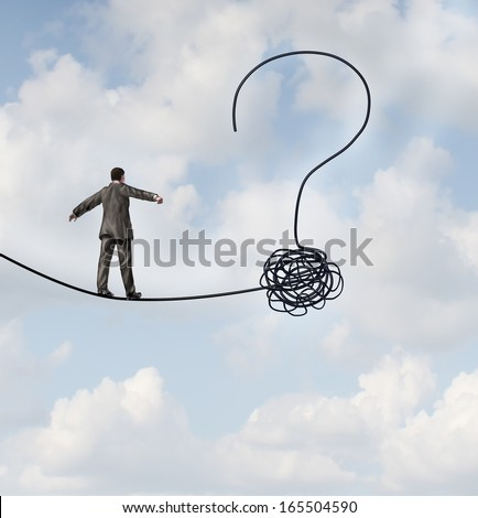 Risk uncertainty and planning a new journey as a businessman walking on a tight rope  shaped as a question mark as a metaphor for confusion at the road ahead as a business icon of finding solutions. - stock photo
