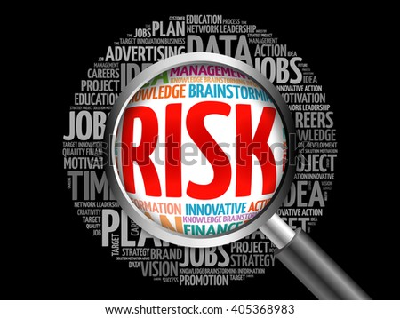 RISK word cloud with magnifying glass, business concept