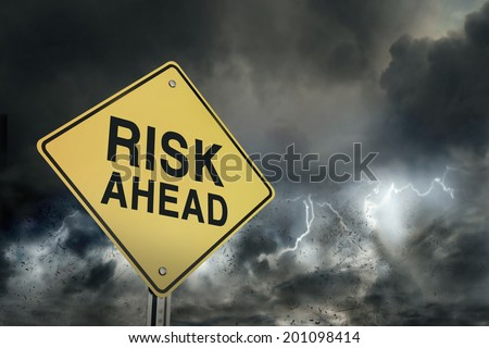 Risks ahead road sign - stock photo