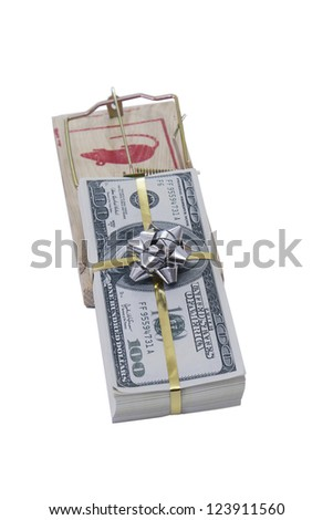 Risky Credit or finance concept: mousetrap using 100 US dollar bills as bait - stock photo