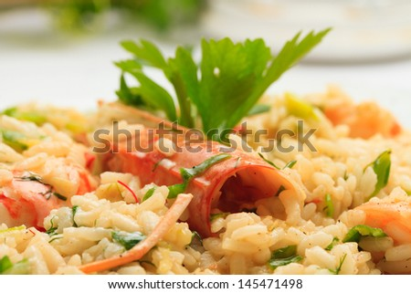 risotto at the restaurant table