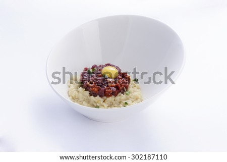 Risotto with beef tartare