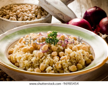 risotto with  chickpeas and onions - stock photo