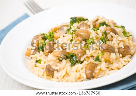 risotto with mushrooms - stock photo