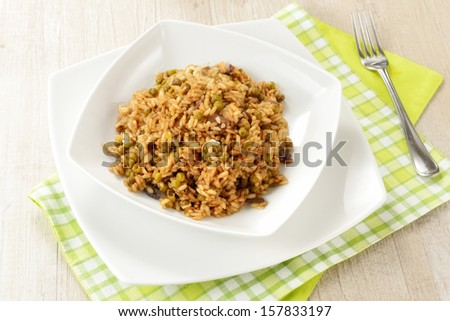 Risotto with peas and soy