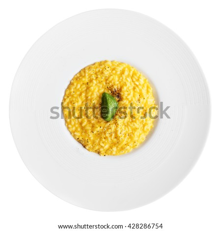Risotto with saffron and chocolate isolated on white background - stock photo