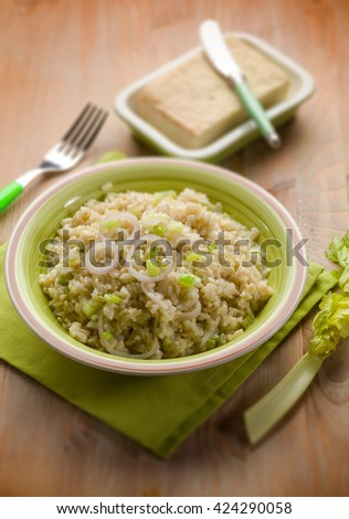 risotto with stracchino cheese, selective focus - stock photo