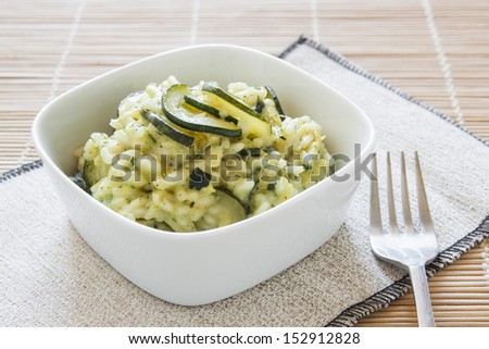 risotto with zucchini, italian food recipe