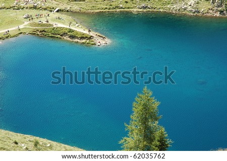 Ritorto Lake in Italian Dolomites in summer.