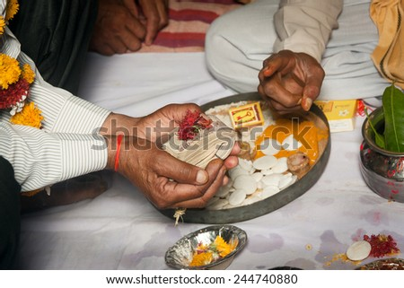 Ritual during a hindu marriage in india - stock photo