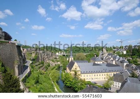 River and bridge in center of Luxembourg in summer