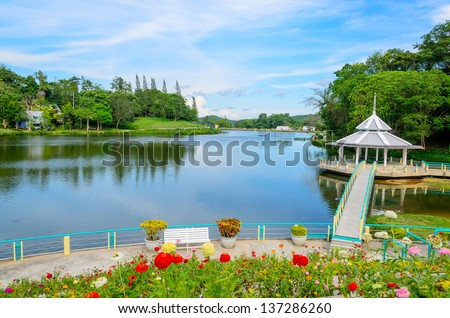 River and Garden in the park, Thailand - stock photo