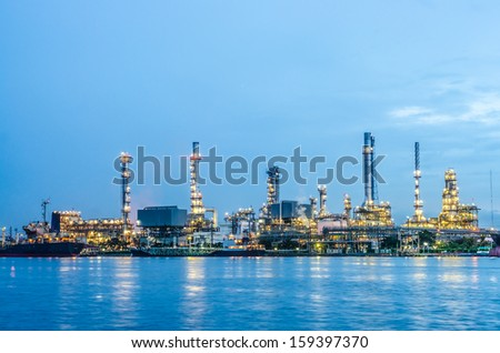 River and oil refinery factory