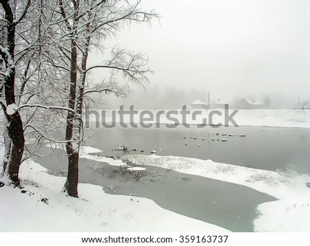 River and snow - Photo, simulates drawing. The river in the winter snow. Trees on a background of snow-covered river and houses in the distance - photos, simulates drawing.