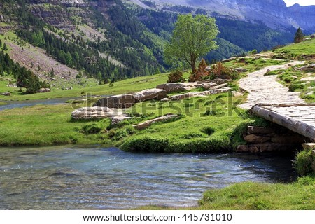 River Arazas in a valley of Ordesa National park in Spain.