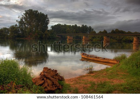 River at Lays sur Doubs, Burgundy - France - stock photo