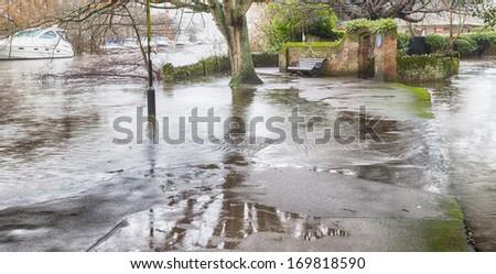 River Avon major flood UK 2014 - Christchurch in Dorset UK  - stock photo