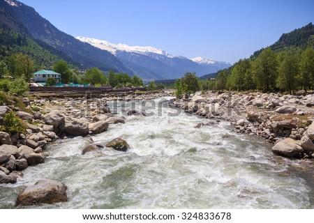 River Beas in Kullu Valley, Himachal Pradesh, India. - stock photo