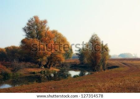 River bend of Zagyva river in autumn - stock photo
